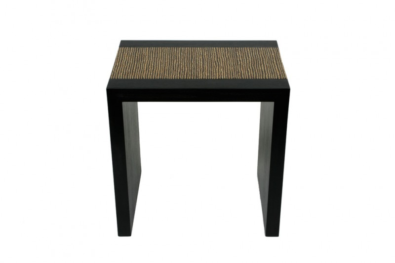 simple brown zebra wood side table