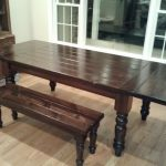 simple dark brown benchwright dining table