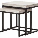 Simple White And Black Metal Legs Nesting Tables