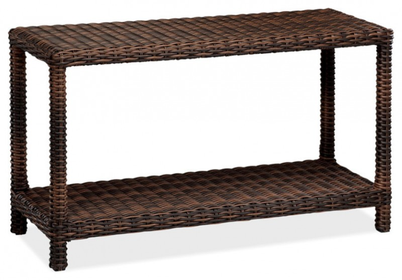 simple woven rattan console table