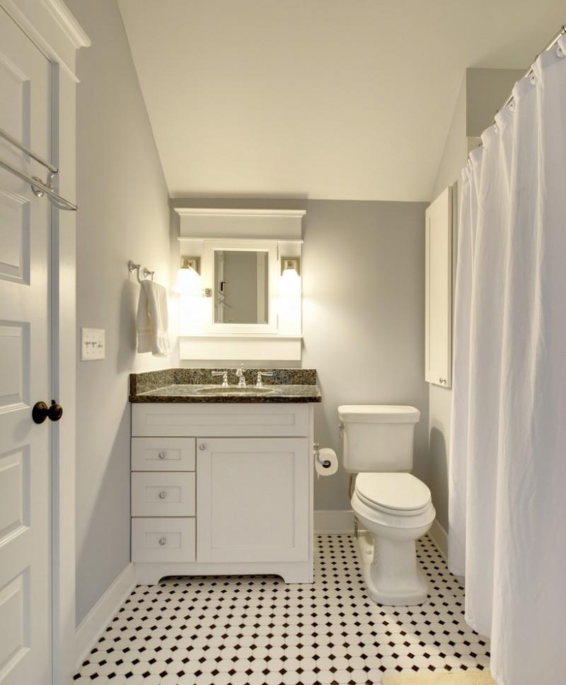 small bathroom remodel ideas black and white tiles curtain door towel rack faucet sink mirror toilet