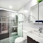 Small Bathroom Remodel Ideas Faucet Sink Toilet Rack Mirror Small Tile Glass Door Wall Lamp Ceiling Light