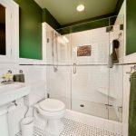 Small Bathroom Remodel Ideas Green Walls Ceiling Lamp Towel Rack Toilet Faucet Sink Shower Glass Door
