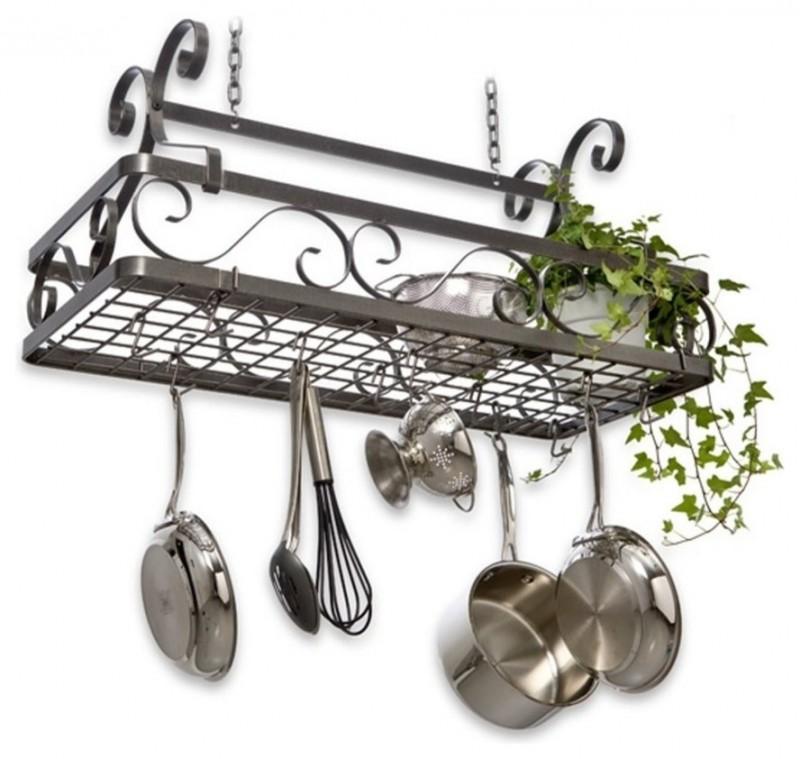 square black stainless steel hanging pot racks
