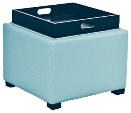 square light blue leather ottoman with tray