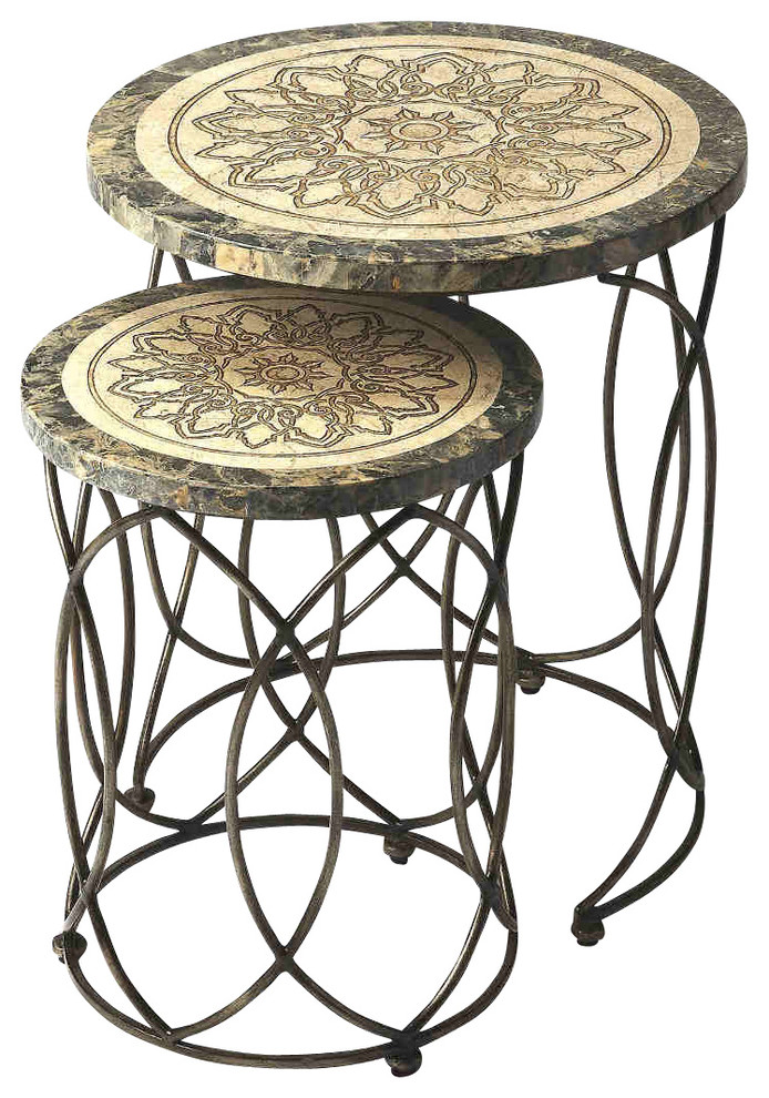 stoney and heavily carved legs nesting tables