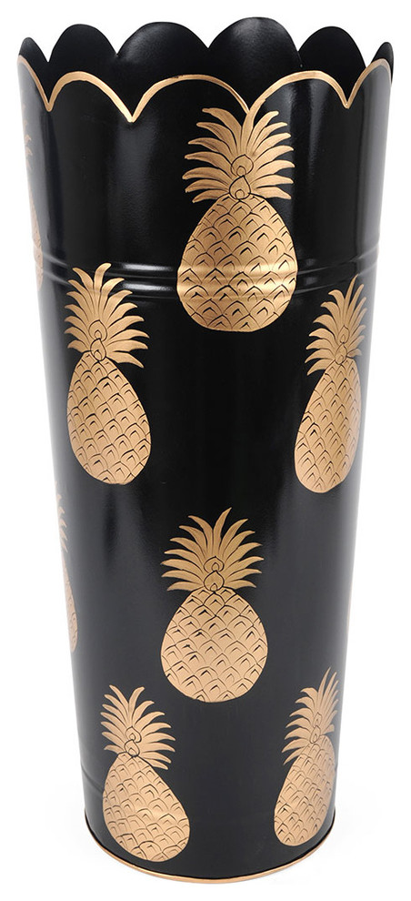 tall round umbrella stand with golden pinapples