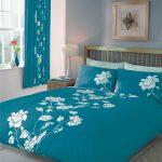 Teal White Flower Bedding