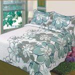 teal white grey flower bedding