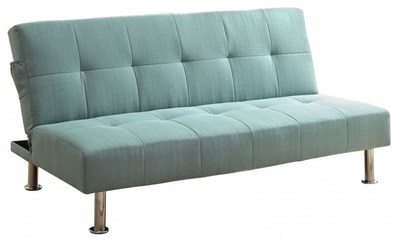 tosca light blue with steel legs and tufted accent
