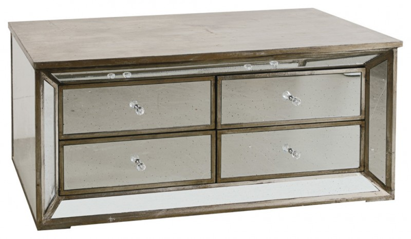 traditional TV stand made of glass with wooden top with 4 drawers