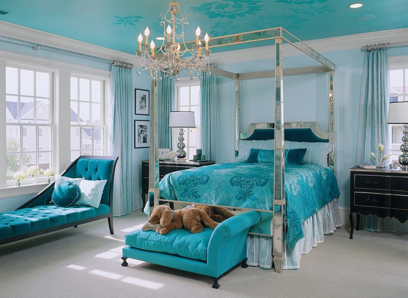 traditional classic turquoise bed with beautiful duvet