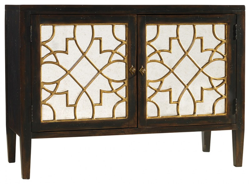 traditional dark brown console tables with two golden carved doors
