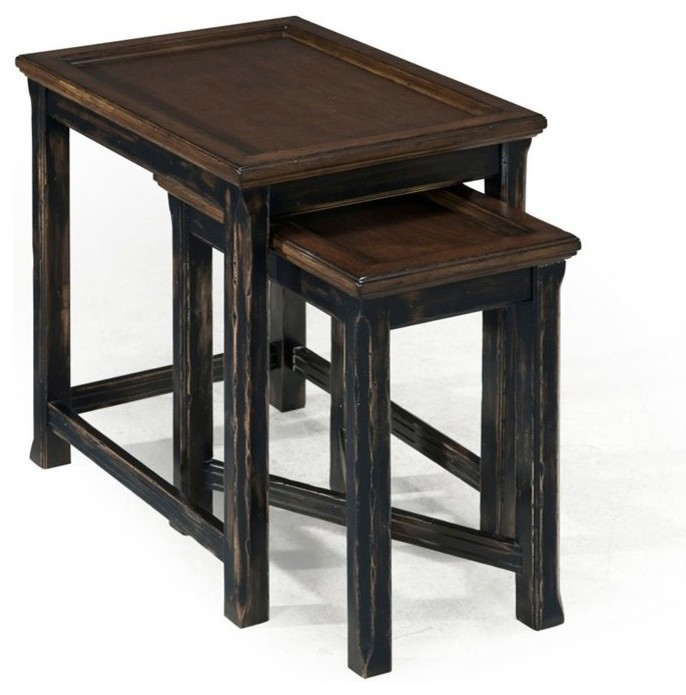 traditional dark brown two nesting tables