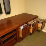 Traditional Deep Brown Wooden Vinyl Album Storage With Shelfs And Cabinet