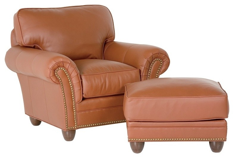 transitional brown leather chair brown leather ottoman