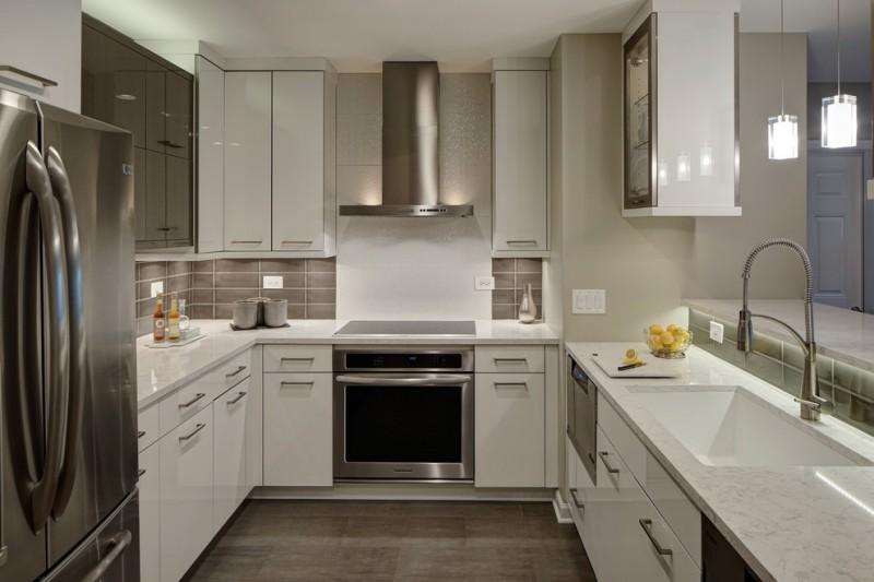 u shaped kitchen faucet modern lamps wall cabinet sink drawer bottles bowl countertop kitchen lighting