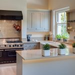 U Shaped Kitchen Faucet Wall Shelves Stove Rack Cabinets Wall Storage Pots Mugs Glass Window