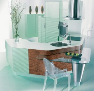 u shaped kitchen glass top dining table transparent dining chair faucet sink wood pattern glass
