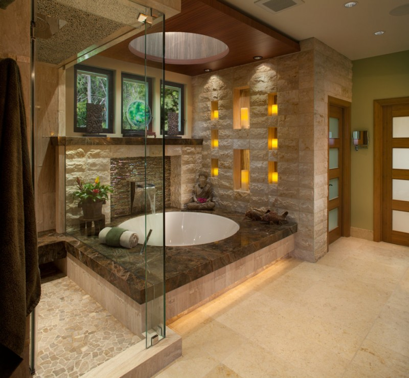 undermount round tub dark marble floor cove lightning wooden ceiling hole ceiling glass slide glass window