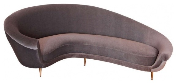 warm grey brown mohair mid century small curved sofa