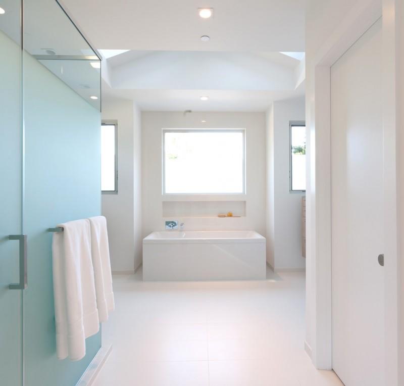 white bathroom ideas glass door rack wide space white floor wall ceiling lamp windows bathtub