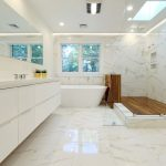 White Bathroom Ideas Glass Floor Tile Ceiling Lamp Vase Faucet Sink Flowers Windows Wood Bathtub Lighting