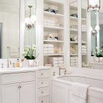White Bathroom Ideas Storage Floor Tile Wall Shelves Cabinet Vase Flowers Lighting Faucet Sink Mirror Hanging Light