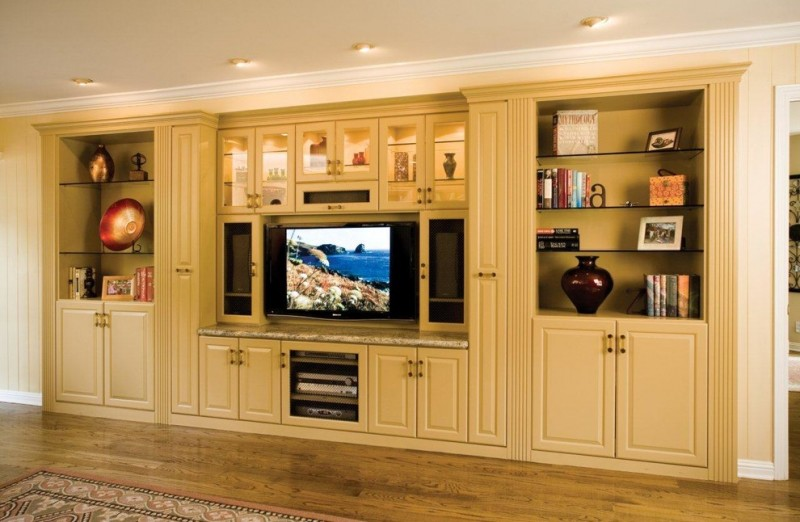 white built in cabinet with TV cabinets drawers shelves