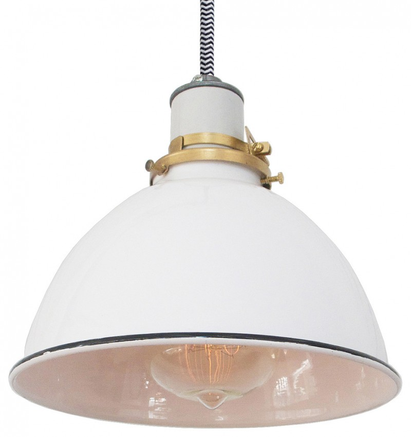 white dome metal with white interior and black trim hanging lamp