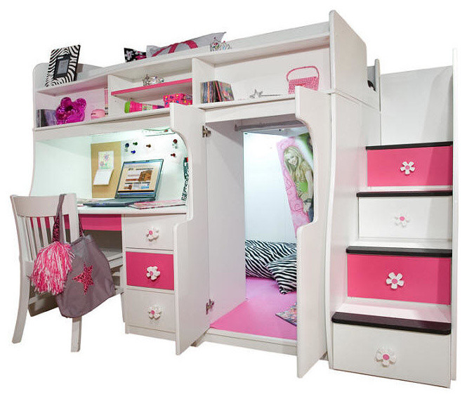 white fuschia wooden loft bed with a desk, a built in dresser, a stairway unit that features shelving on the side, drawers built into the stairs and slip resistant treads