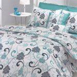 white green grey flower bedding in green linen bed