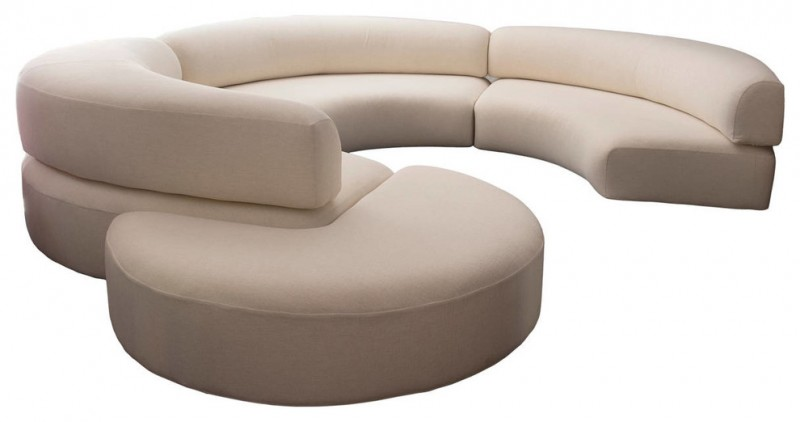 white modern small curved sofa with round built in table in the end