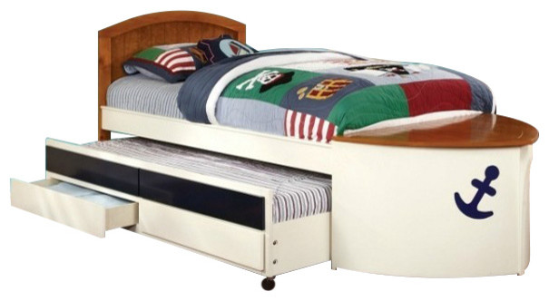 white navy boat with nesting beds