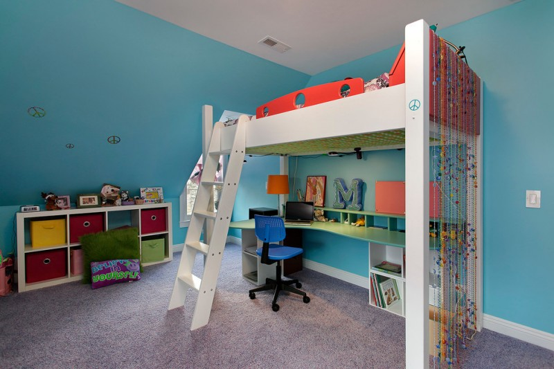 white orange wooden loft bed with stairs and tosca desk