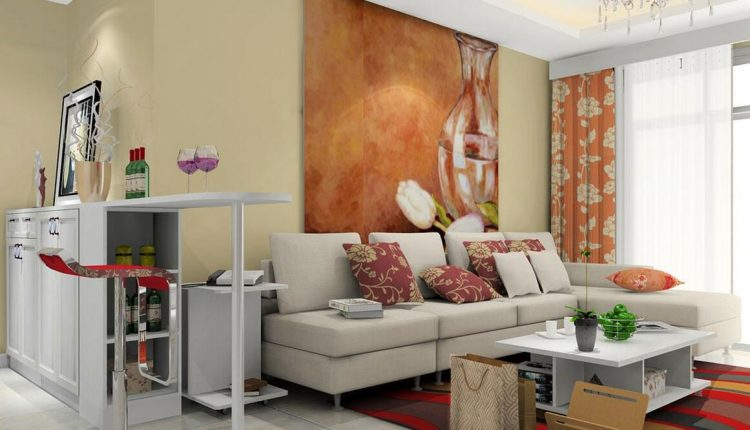 white sectional sofa beautiful accent pillows modern white table colorful strips carpet modern bar stool