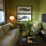 White Sofa Green Covered Accent Pillows Soft Green Corner Chair Black Side Table Black Top Coffee Table