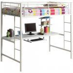 White Steel On Powder Finished Loft Bed With Stairs And Desk