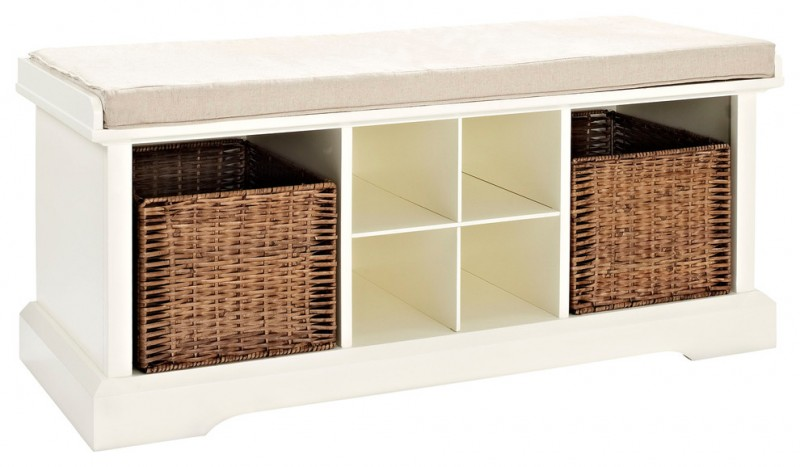 white storage bench with four slots storage and two baskets