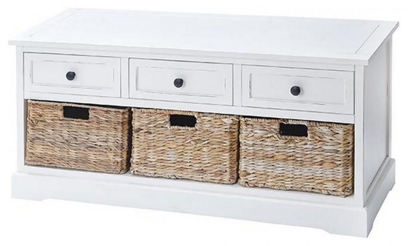 white storage bench with three drawers and three baskets