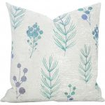 White Textured Throw Pillow With Purple Leaf Design