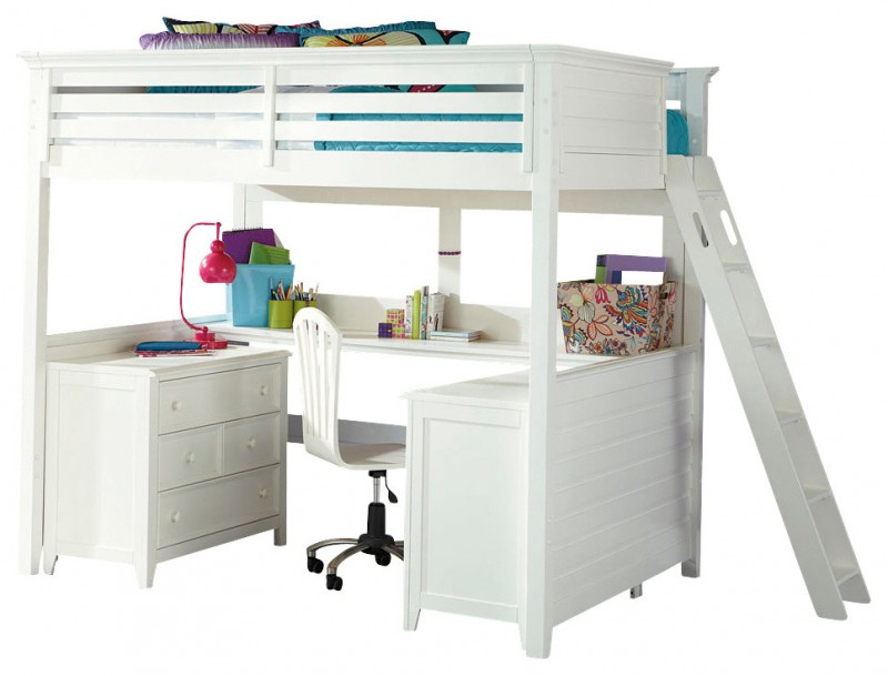 white willow wood loft bed with drawers and study desk under it