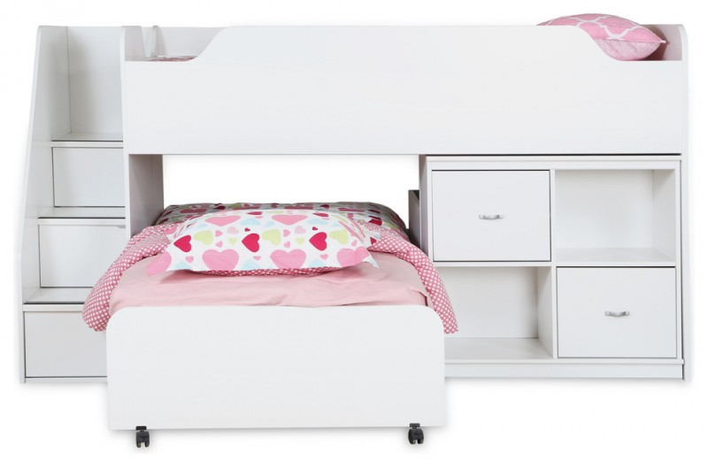 white woode transitional bunk bed with stairs and drawers