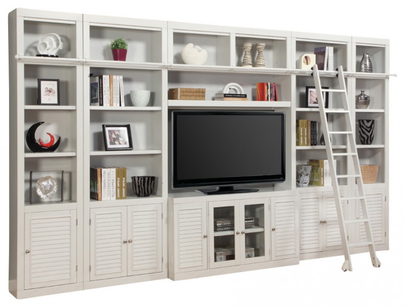 white wooden entertainment cabinet with shelves TV cabinet smaller cabinet and ladder