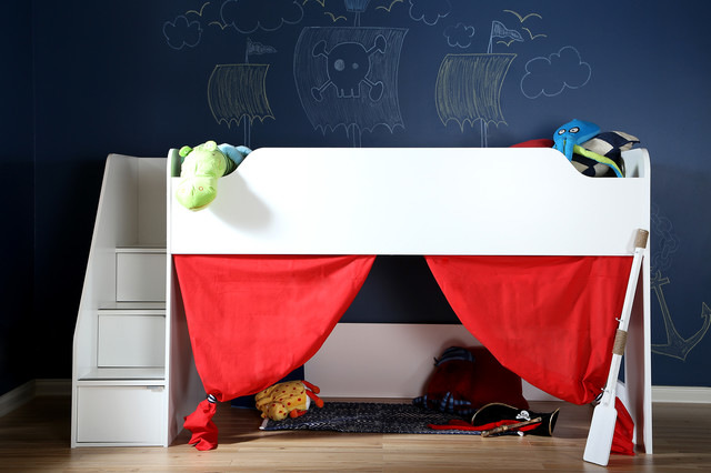 white wooden loft bed with stairs