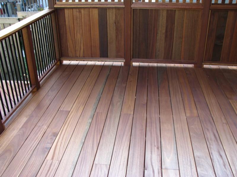 wooden closed railing and metal vertical railing