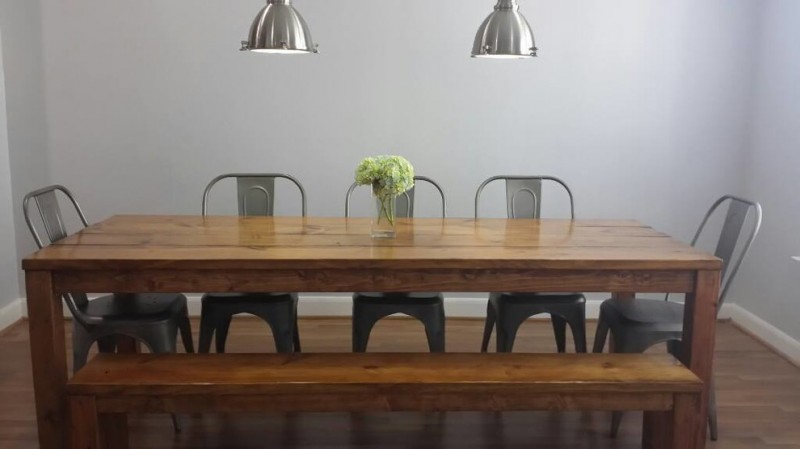 wooden parsons table