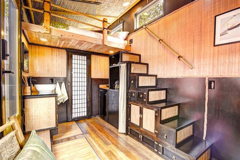 asian staircase with cabinet with wooden door and wicker door, shelves