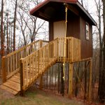 Backyard Wood House With Swing Rope And Stairs