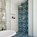 Bathroom With Walk In Showers Without Door With White Tiles, Blue Patterned Tieles Small Glass Partition